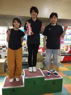 6月度ボウリング大会 上位3名.JPG